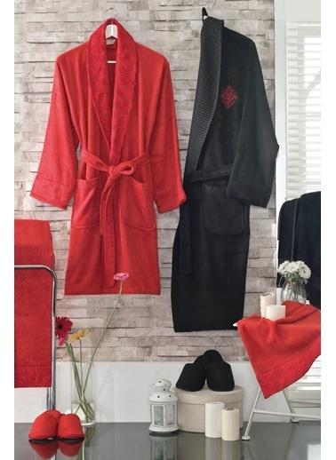 Maxstyle Bambu Diva 8 Parça Aile Seti Kırmızı-Siyah Kırmızı